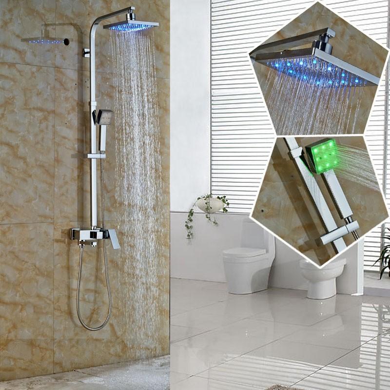Купить 2016 Новый Дизайн Цвет Изменение СВЕТОДИОДНЫЙ Дождь Душ Смеситель Кран Полный Набор Ванная Комната На Открытом Воздухе В стену Для Ванны и Душа кран Краны