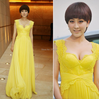 2015 New Arrival Yellow Long Chiffon A-line Wide Straps Sexy Formal Evening Dress Prom Party Gown Star's Red Carpet Dresses