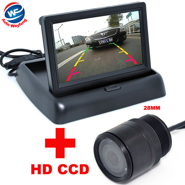 "28mm Car CCD Rear View Camera+4.3"" Color LCD Car Video Foldable Monitor 2 in 1 Night Vision backup Camera Auto Parking(China (Mainland))"