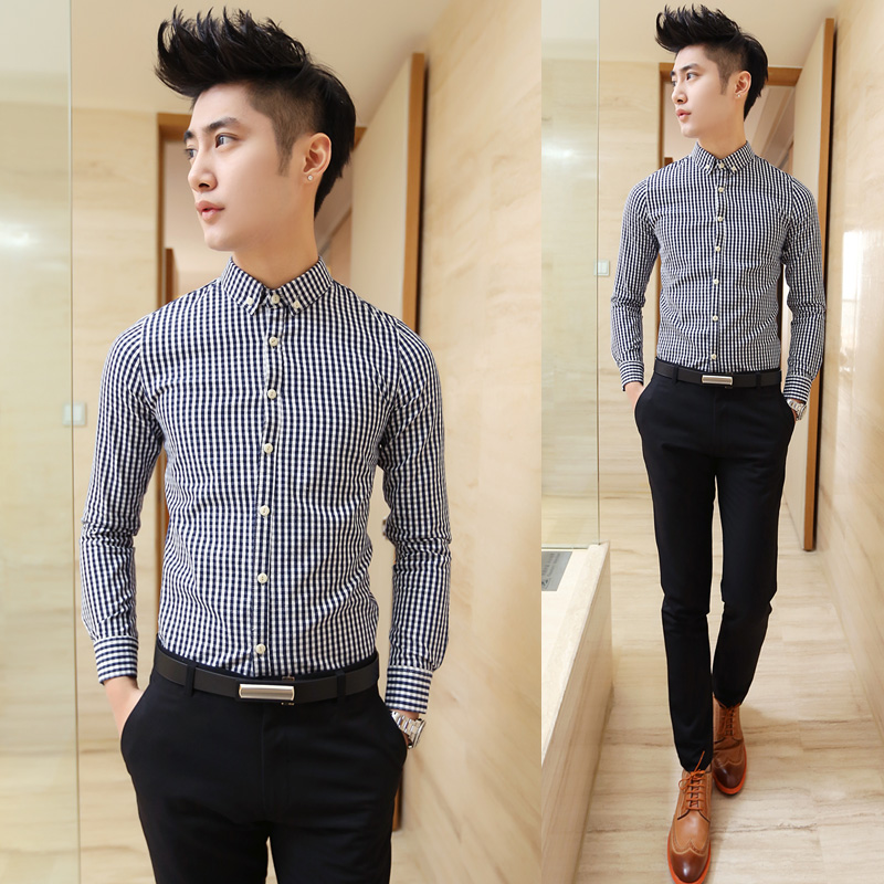 Male spring male buckle casual long-sleeve shirt plaid slim Min order 15$ - jim yue's store