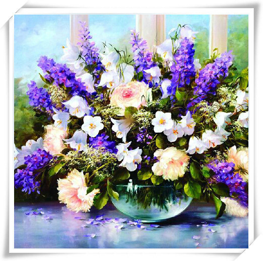 Promotion!!5D Diamond Painting Full Resin Craft Wall Decora Needlework Full Resin Craft Violet Lavender plants Painting BB1167(China (Mainland))