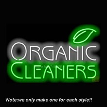 Organic Cleaners Neon Sign Real Glass Tube Beer Pub Recreation Room Garage Windows Sign Neon Signs Store Display Great Gift32x20(China (Mainland))