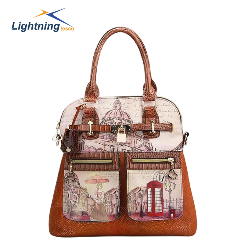 2015 Cartoon Fashion Women Handbags Designer Handbags High Quality Shoulder Bag PU Leather Bag Brand Bag bolsa feminina HB500F(China (Mainland))