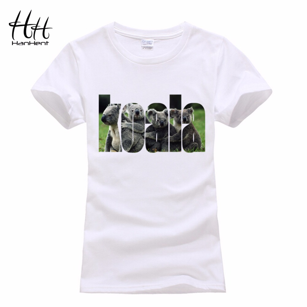HanHent Koala Women's T-shirts Cotton Cute T shirt Women 2016 Fashion Funny Shirt Summer Ladies Manga Korean Animal Print Tops(China (Mainland))