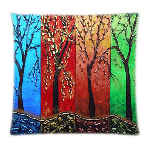 2015 Hot Sellers Cute Cartoon Tree Design Colorful Customized Pillowcases (Two Sides)  Plush&Cozy Four Sizes Can Be Selected