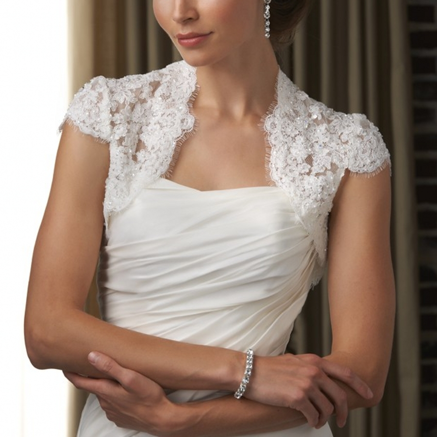 Buy cap sleeves softer lace applique for Lace shrugs for wedding dresses