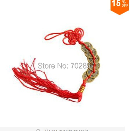 Personalized Red Luck Chinese Feng Shui 6 Coins Hanger New Arrival Prosperity Good Fortune Chinese Coins Hanger(China (Mainland))