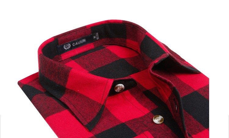 Men's Long Sleeve Plaid Shirts Flannel (4)