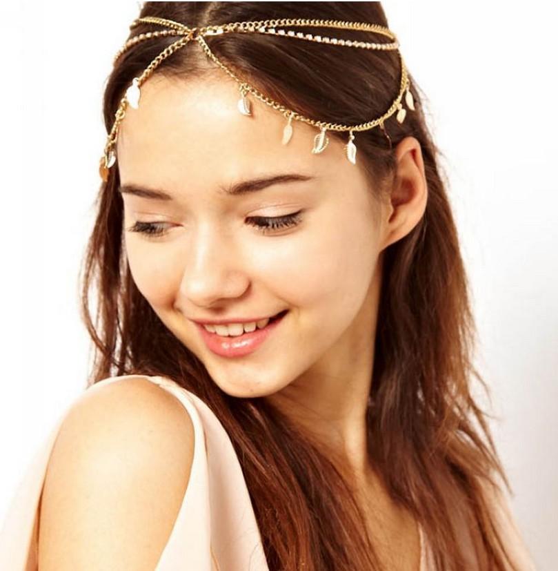 Fashion indian head jewelry bijoux de tete Boho Hair Accessories Multilayer Grecian Leaf Metallic Women Chain Tiara CF018(China (Mainland))
