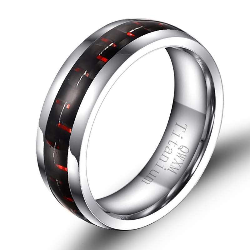 Fashion 6mm High Polishing Couple's Dark Red Carbon Fiber Inlay Tungsten Carbide Ring Unisex Engagement Wedding ring 6-11 NEW(China (Mainland))