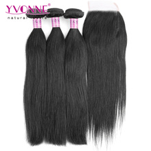 Straight Brazilian Virgin Hair With Closure,3 Bundles Human Hair With Closure,Aliexpress YVONNE Hair Products(China (Mainland))
