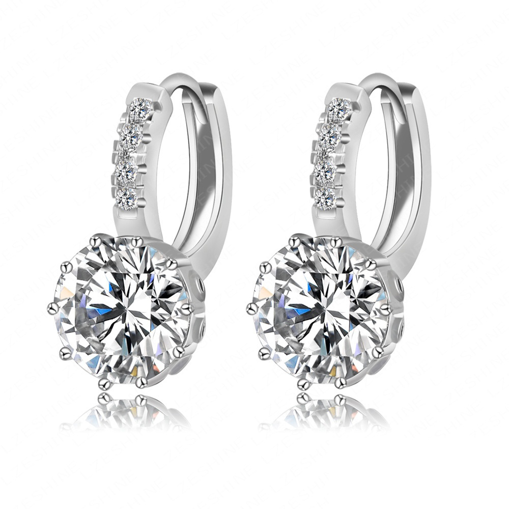 2016 New Stud Earrings Big Sale Real Platinum Plate Micro Inaly Clear Cubic Zircon Wedding Earrings Wholesale CER0149-B(China (Mainland))