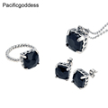 Pacificgoddess High quality stainless steel jewelry set women rings earrings and necklace set with black crystal