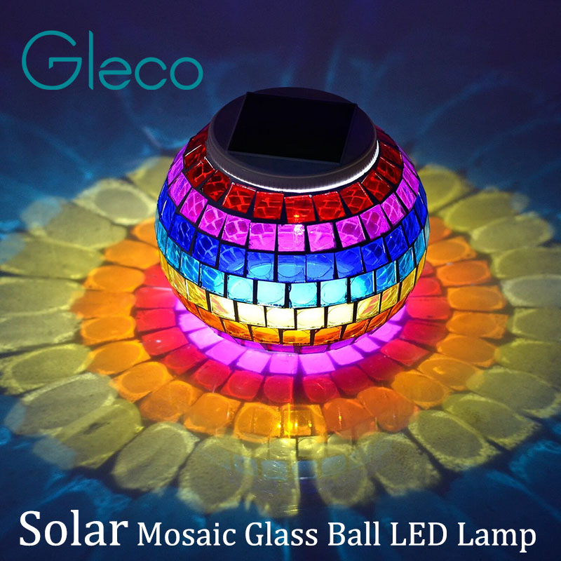 Solar Powered Mosaic Glass Ball LED Lamp Color Changing Table Lamp,Garden Solar Night Light Indoor/Outdoor Decoration idea Gifts(China (Mainland))
