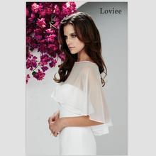 Charming Silk Chiffon Wedding Bolero Cheap Sale Wedding Jacket White Bridal Wrap Bolero Mariage Free Shipping zt-2(China (Mainland))