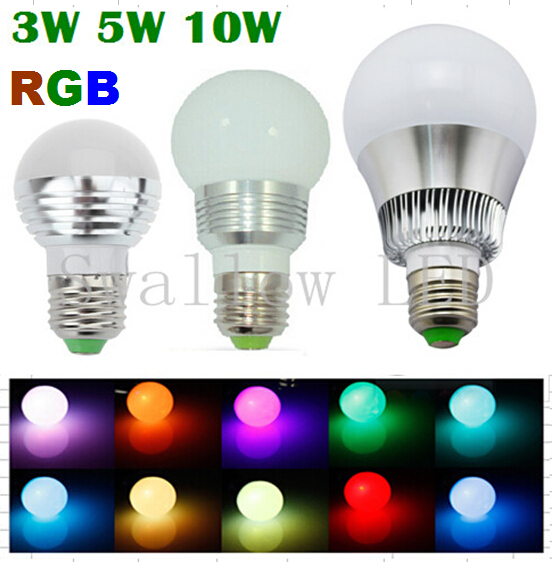 3W5W/10W RGB E27 16 Colors LED Light Bulb Lamp Spotlight 85-265V + IR Remote Control Free Shipping(China (Mainland))