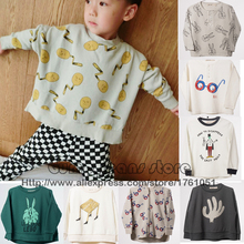 New Bobo Choses Glasses Rabbit Sweatshirts T-shirt Autumn Winter 2016 Kids Full Long Sleeve Baby Boys Girls Desk Spoons Tops Tee(China (Mainland))