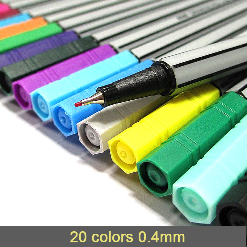 0.4 Mm 20 Colors Fineliner Pens Marco Super Fine Draw (not Stabilo Point 88) Marker Pen Water Based Assorted Ink No-tox Material
