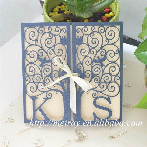 "wedding cards invitation 2015! card craft supplies paper sleeves for invitations, ""happiness tree"" laser cut invitation sleeves(China (Mainland))"