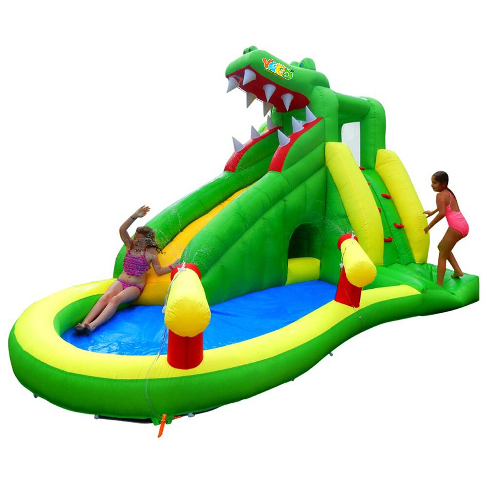 YARD Bounce House Crocodile Water Slide Outdoor Play Swimming Pool with Cannons(China (Mainland))