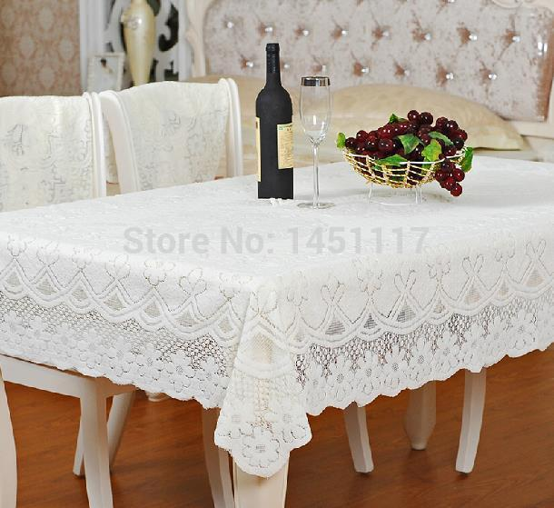 Inexpensive fashion pure white embroidered tablecloth Modern style cutout lace table cloths for weddings(China (Mainland))