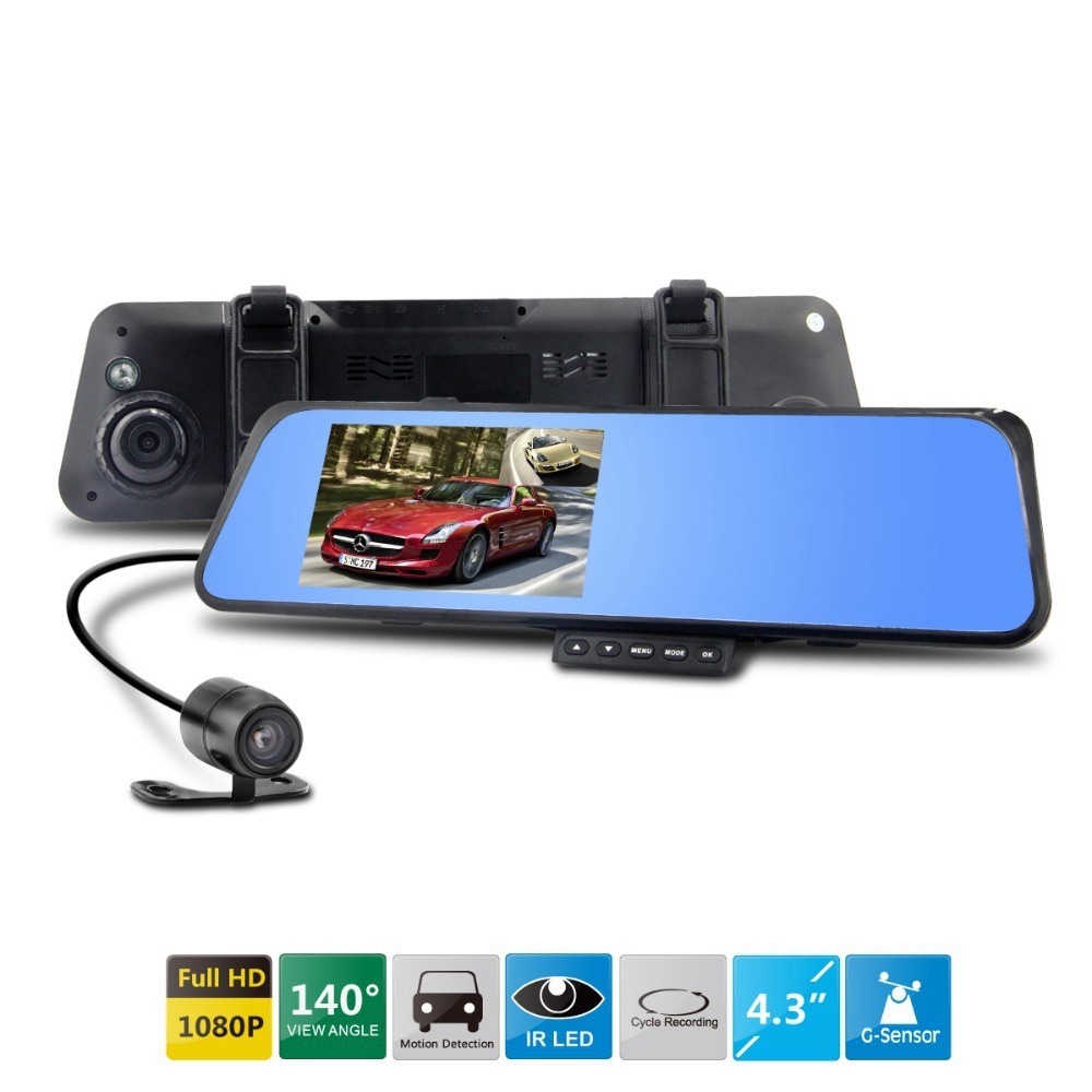 Car DVR Rearview Mirror Camera Video Recorder Dual lens Full HD 1080P With G-sensor Motion Detection Night Vision Dash Cam(China (Mainland))