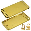 For iPhone 6 24K Gold Housing Back Cover Replacement Mid Frame Bezel Battery Door with Logo