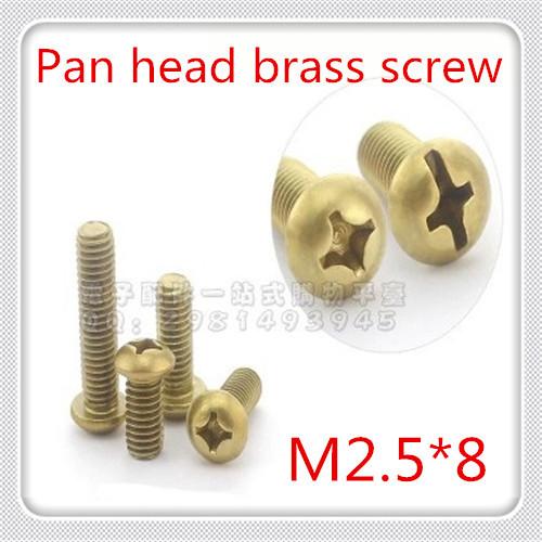 1000pcs/lot High Quality M2.5*8 cross recessed countersunk brass pan head machine screw<br><br>Aliexpress