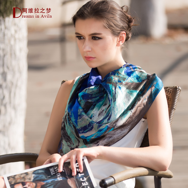 Silk scarf large facecloth silk scarf fashion gift box mulberry silk 2015 spring and summer fashion women's scarf(China (Mainland))