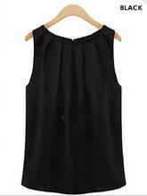 Dobra O Pescoço Mulheres Blusa sem mangas Camisa Blusa Chiffon Verão Casual Tops Blusa Feminina Moda Feminina Tops Camisas(China)