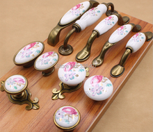 Vintage Ceramic Cabinet Knobs and Handles China Flower Furniture Hardware Handle & Knob(China (Mainland))