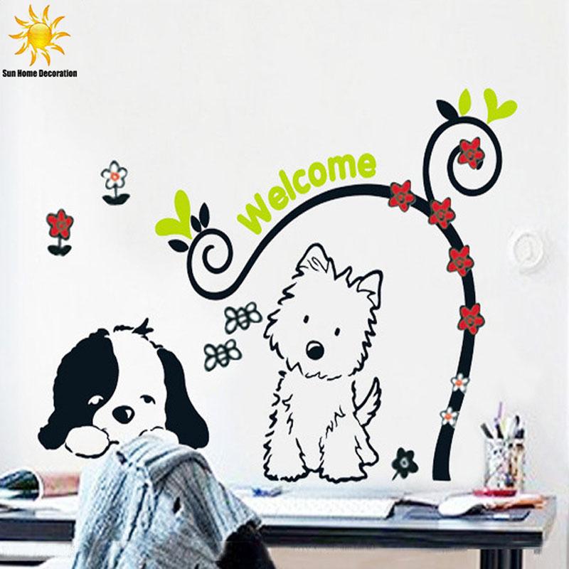 Little Dog Cartoon Children Wall Sticker Bedroom Decor Wall Stikers