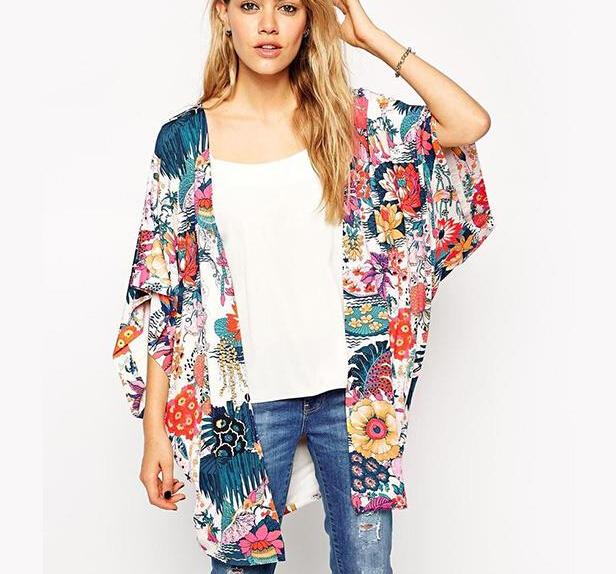 Весна женщины цветочный кимоно кардиган половина рукава шифон цветок печать блузка