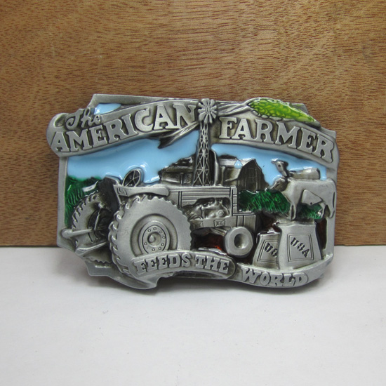 BuckleHome American farmer belt buckle with pewter finish FP-02483 suitable for 4cm wideth belt free shipping(China (Mainland))