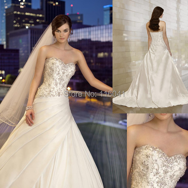 New Style Factory Custom Make Ball Gown Strapless Luxury Crystal Beaded Satin Wedding Dresses Essense of Australia(China (Mainland))