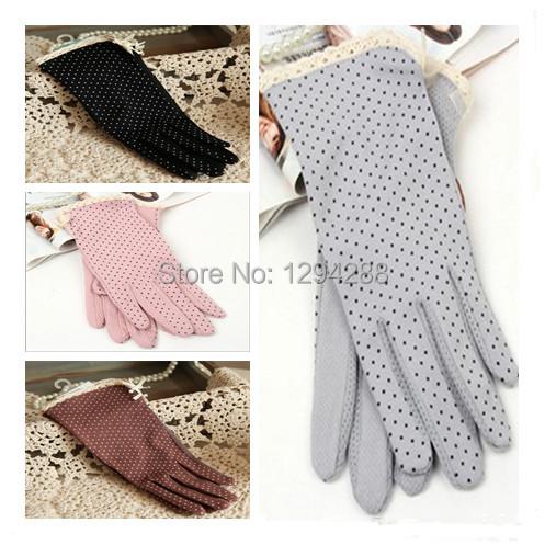 1Pair High Quality Sunscreen Dot Print Design Short Gloves Women's Summer Driving Gloves Free Shipping Th50Hu(China (Mainland))