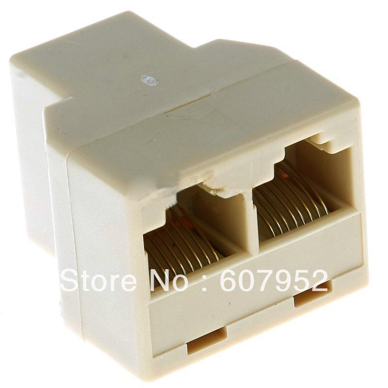 FreeShipping50x RJ45 CAT 5 6 LAN Ethernet Splitter Connector Adapter PC(China (Mainland))