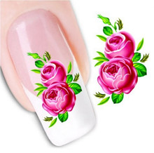Simple XF1055 Beautiful Rose Flowers Water Transfer Nail Art Stickers Nails Wraps Foil Polish Decals Decoration Nail Tools(Hong Kong)