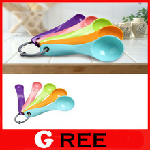 Multicolour measuring spoons 5pcs/lot(1 / 2.5 / 5 / 7.5/ 15ml) coffe tea plastic measuring spoon set kitchen tools and cooking