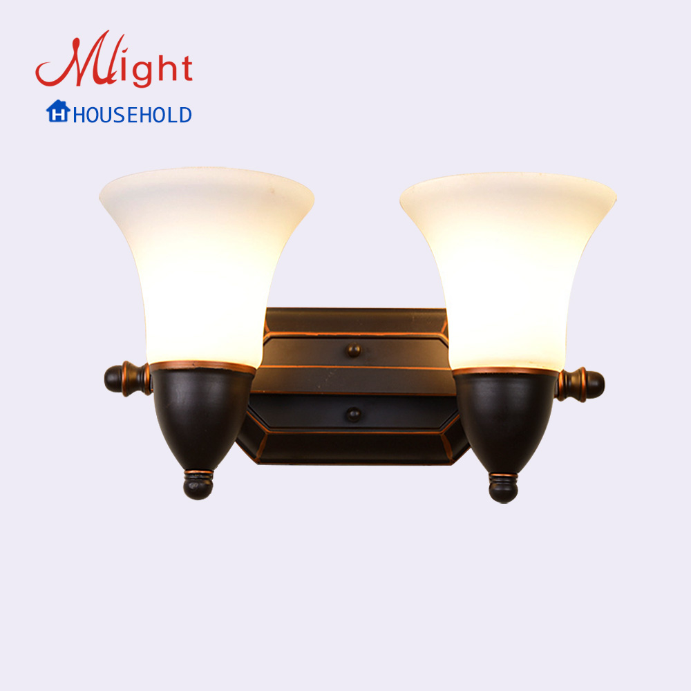 European Antique Looking Luxury Indoor Glass Wall Lamps 2 Heads Retro Iron Decoration Lights<br><br>Aliexpress