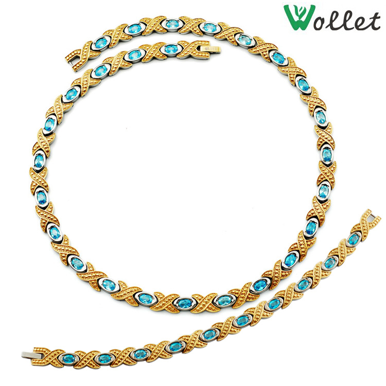 necklaces for women 2015 sea blue cz crystal jewelry high quality germanium infrared gold filled titanium magnetic necklaces(China (Mainland))