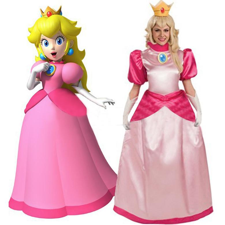 super pas cher mario bros princess peach cosplay costume custom made princesse robe fille. Black Bedroom Furniture Sets. Home Design Ideas
