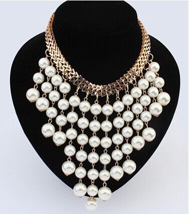 Min. order is $9(mix order) Ruili fashion jewelry pearl necklace big exaggeration multilayer tassel pearl necklace(China (Mainland))