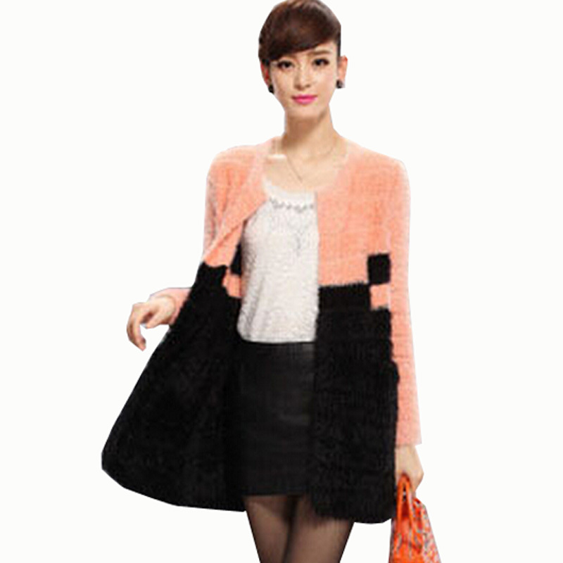 D-438 European American style 2014 new Winter autumn fashion mixed colors slim knitted cardigan women faux fur coat