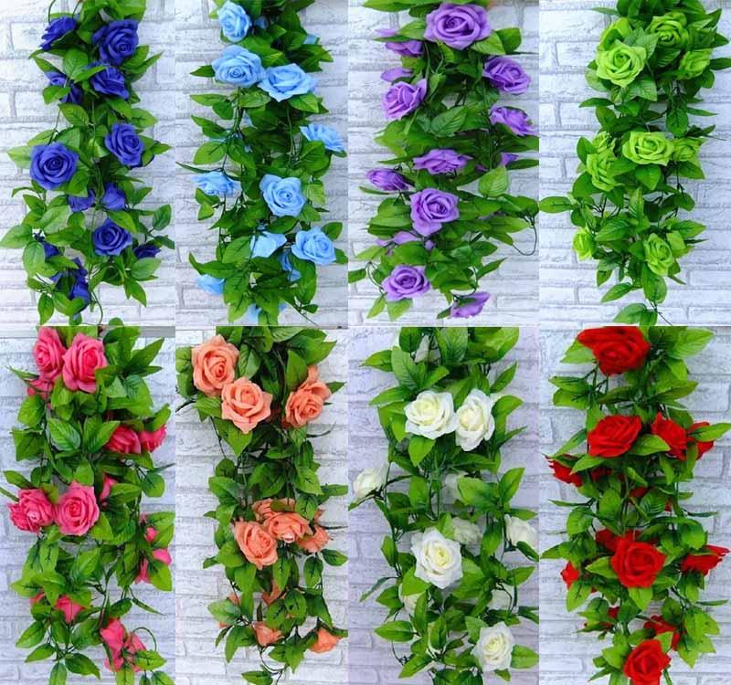 2019 Wholesale 26m Artificial Rose Garland Silk Flower Vine Ivy