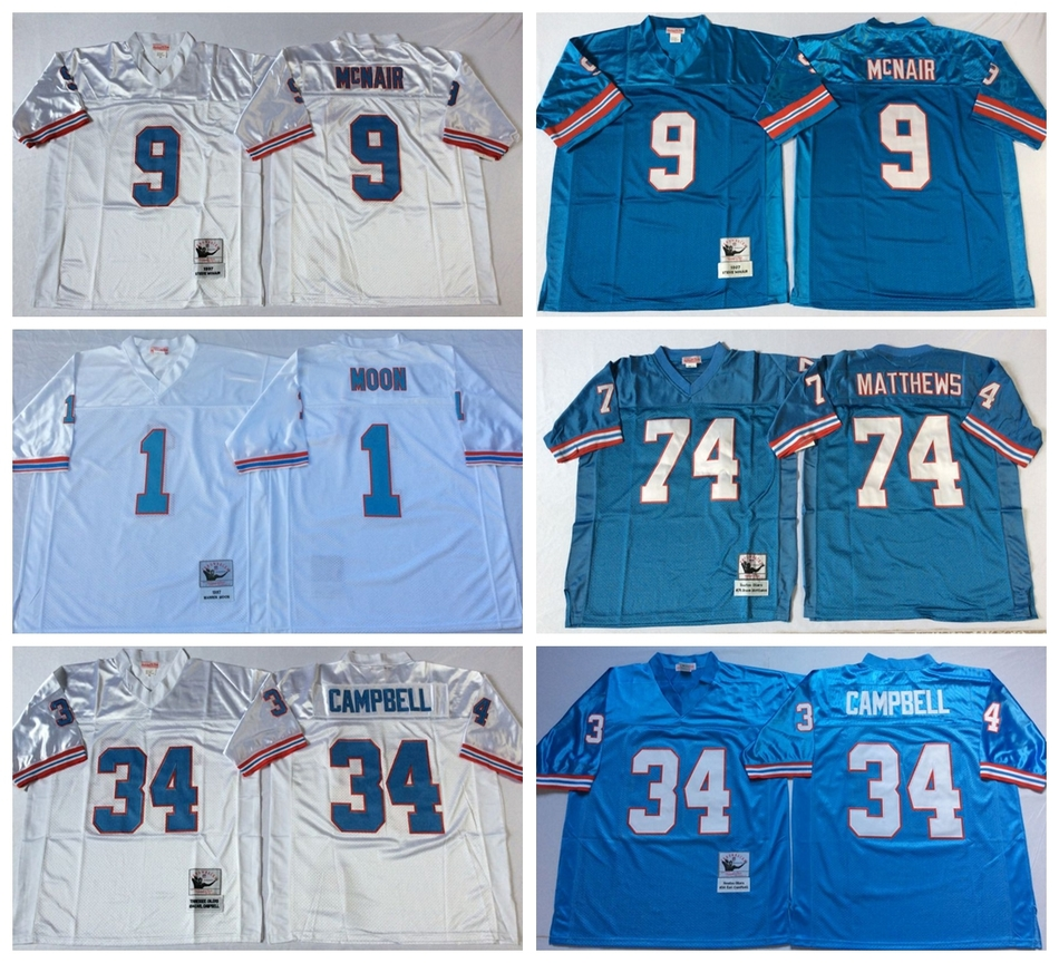 100% Stitiched,Tennessee Oilers,Robert McNair,Warren Moon,Curley Culp,Bruce Matthews,Earl Campbell,Throwback for men camouflage(China (Mainland))