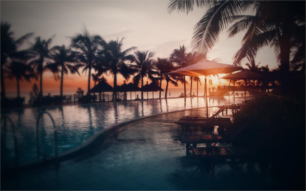 sunset at the seaside palms and swimming pool Home Decoration Canvas Poster Prints(China (Mainland))