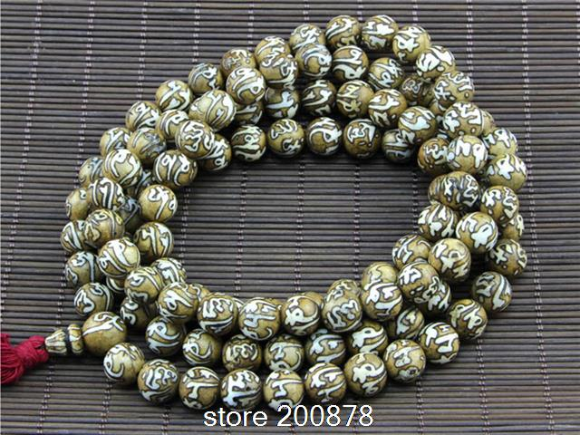 BRO830 Tibetan 108 hand Painted OM mantras Tridacna shell Prayer beads,conch shell Rosary,8mm<br><br>Aliexpress