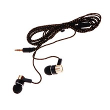 MP3/mp4 Roping Stereo Subwoofer Earphone In Ear Headset Earbud 1.1M Reflective Fiber Cloth Line Metal Earphone Free Shipping(China (Mainland))