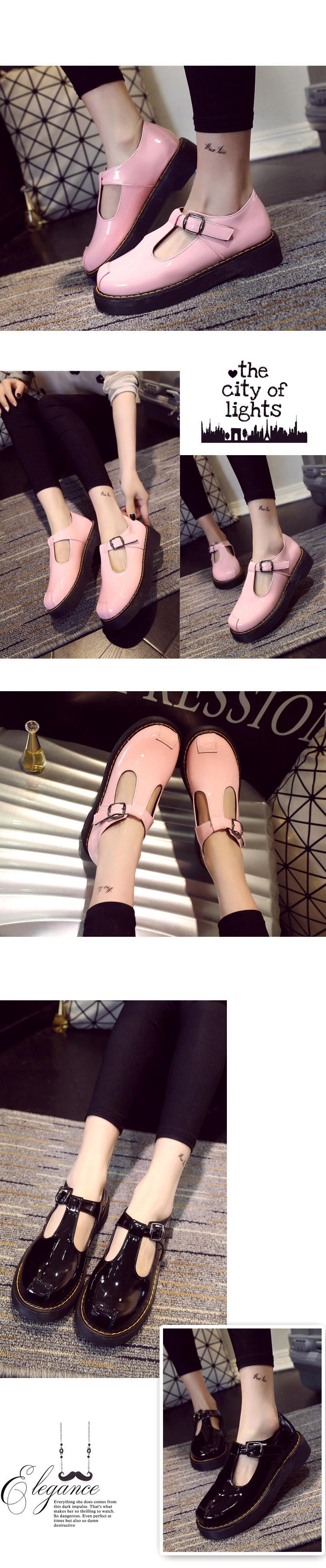 ซื้อ สีชมพูผู้หญิงB Rogueรองเท้าแพลตฟอร์มO Xfordsผู้หญิง2016เสื้อสายรัดการจัดส่งบนรองเท้าส้นเตี้ยแฟชั่นหัวเข็มขัดC Reepers XWD4446
